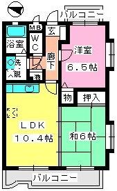 シャルマン那珂川 / 203号室間取り