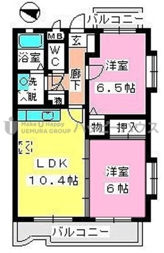 シャルマン那珂川 / 403号室間取り