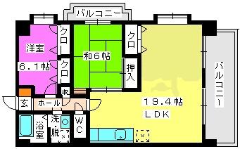 リバーサイドⅡ / 206号室間取り