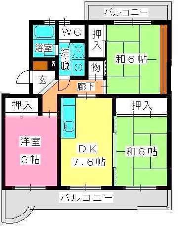 ロイヤルハイツ泉 / 206号室間取り