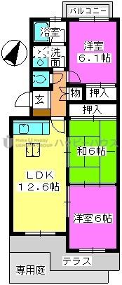 K.K.H(カワサキ春日ハイツ) / 102号室間取り