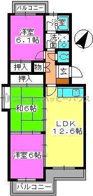 K.K.H(カワサキ春日ハイツ) / 301号室間取り