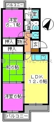 K.K.H(カワサキ春日ハイツ) / 303号室間取り