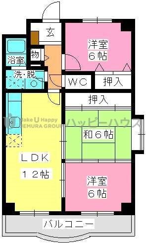 パークサイド井上Ⅱ / 305号室間取り