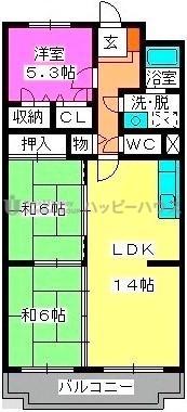 エクレール春日 / 305号室間取り