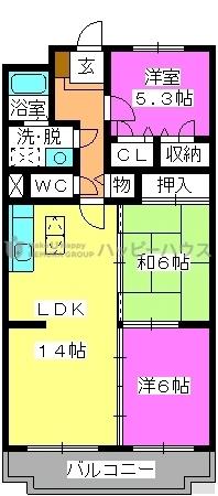 エクレール春日 / 402号室間取り