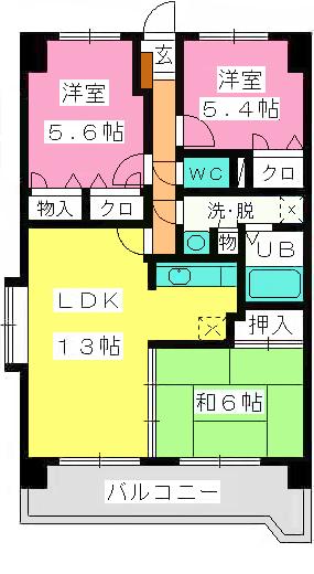 サンリバー博多南Ⅱ / 701号室間取り