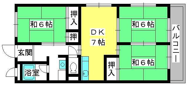 コーポラス柏田 / 201号室間取り