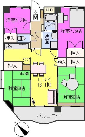 シャトレ博多南 / 701号室間取り