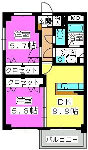 クレスト大善寺 / 201号室間取り