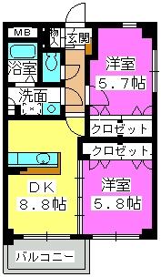 クレスト大善寺 / 202号室間取り