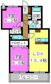 プラザ社田 / 302号室間取り