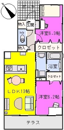 プラザ社田 / 105号室間取り
