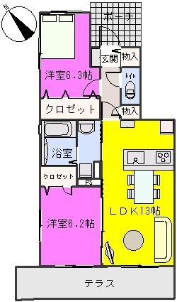 プラザ社田 / 106号室間取り