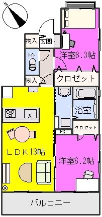プラザ社田 / 205号室間取り