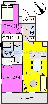 プラザ社田 / 206号室間取り