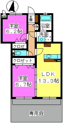 ラフィーネ / 102-la号室間取り