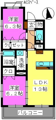 レジデンス・グリンダ / 201号室間取り