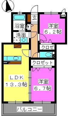 レジデンス・グリンダ / 302号室間取り