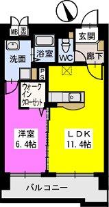 ベスタ櫛原 / 402号室間取り