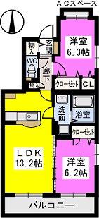 グランシャリオ七夕通り / 305号室間取り