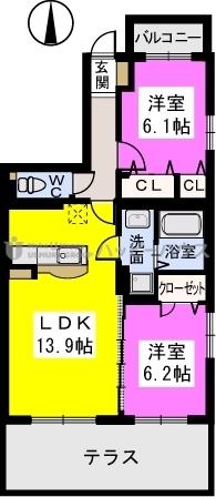 ブラウレーヘン東合川 / 101号室間取り