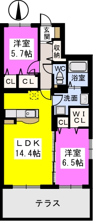 ブラウレーヘン東合川 / 102号室間取り