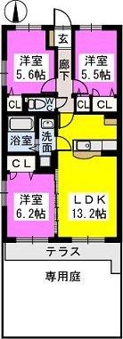 グランシャリオ七夕通りⅡ / 101号室間取り