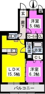 グランシャリオ七夕通りⅡ / 202号室間取り