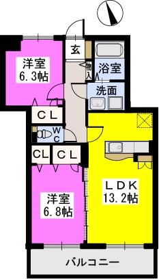 フローリッシュⅢ / 203号室間取り