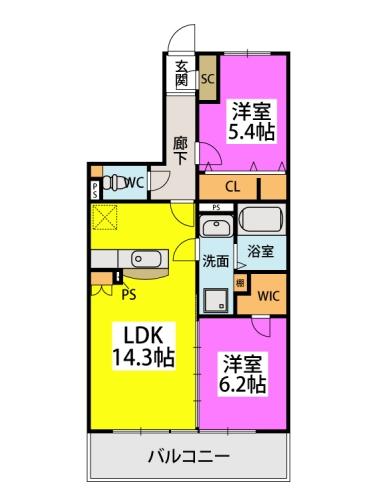 仮)プレアev北屋敷 / 203号室間取り