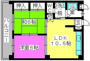 ハイツ草香江 / 303号室間取り