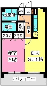 ハイドパーク別府 / 602号室間取り