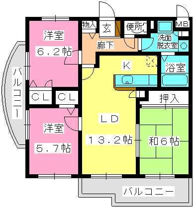 ブレイヴ干隈Ⅱ / 301号室間取り