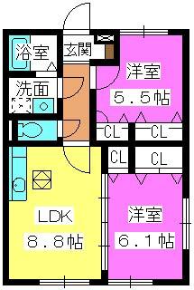 シャルマンメゾン樋井川 / B-101号室間取り