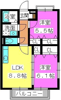 シャルマンメゾン樋井川 / B-201号室間取り