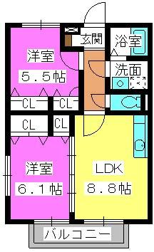 シャルマンメゾン樋井川 / B-202号室間取り