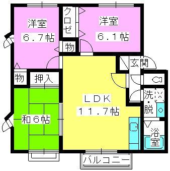 エトワール柏原Ⅱ / A-201号室間取り