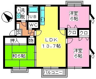 シャンブル三浦 / 206号室間取り