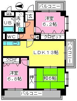 フレア福神六番館 / 505号室間取り