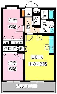ピオーネ大神Ⅲ / 203号室間取り