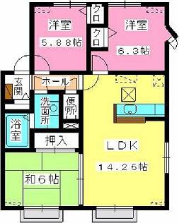 サンヒルズ片江 / A-201号室間取り