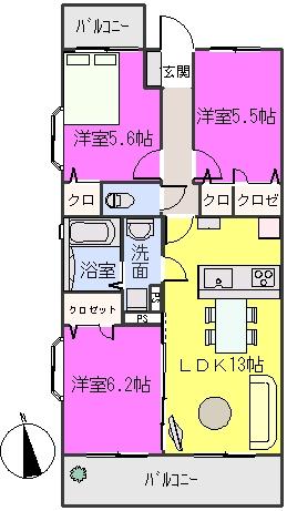 エミネンス樅の木坂 / 201号室間取り
