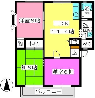ネオビレッジ有田 / 201号室間取り