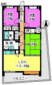 シュペリュール25 / 306号室間取り