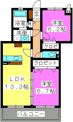 ステラパークサイド次郎丸 / 2302号室間取り