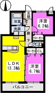 セピアコート弐番館 / 202号室間取り