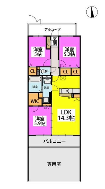 (仮)プレアコートY・M / N-102号室間取り