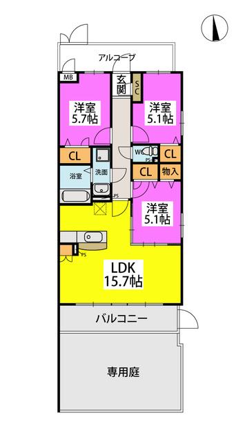 (仮)プレアコートY・M / N-105号室間取り