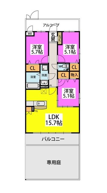 ピノコーダ・カーサ / N-105号室間取り